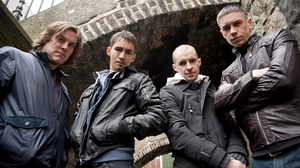 Peter Coonan, Robert Sheehan, Tom Vaughan-Lawlor and Killian Scott in Love/Hate