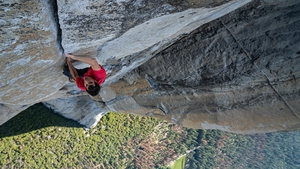 Free Solo - Alex Honnold climbing El Capitan in Yosemite National Park in the US