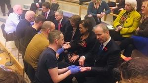 Eamon Ryan, Brendan Howlin, Róisín Shortall, Mary Lou McDonald and Micheál Martin being tested today