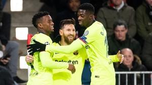 Lionel Messi celebrates netting Barca's opener