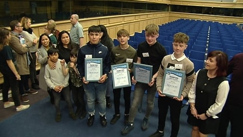 A group of boys honoured for saving a man who had got into difficulty in Galway