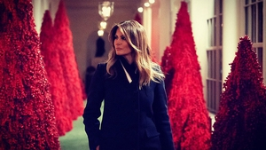 Melania Trump defends red Christmas trees, image via Melania Trump/Twitter
