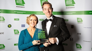 Liz Nugent winner of RTÉ Radio 1's The Ryan Tubridy Show Listeners' Choice Award for her book Skin Deep, with Ryan Tubridy