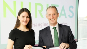 Nuritas founder Dr Nora Khaldi and EIB vice president Andrew McDowell
