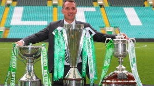 Rodgers' side won all three domestic trophies on offer in both of the two previous seasons