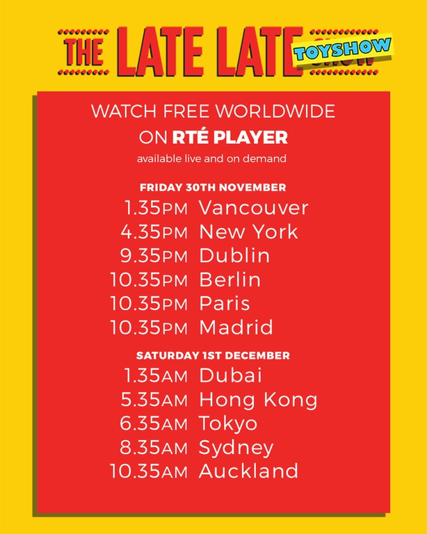 You can tune into the #LateLateToyShow for FREE wherever you are! @RTEPlayerInt @RTEplayer