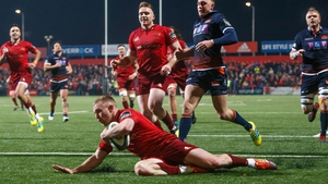 Munster's Keith Earls scores a try