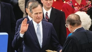George HW Bush is sworn in as the 41st President of the United States in 1989