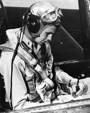 Bush joined the Air Force at 18 and flew 58 combat missions during WWII