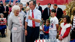 George and Barbara Bush on the campaign trail for re-election