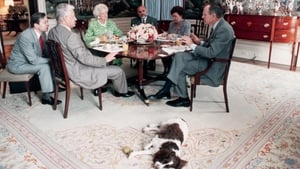 President Bush, his wife Barbara and Boris Yeltsin and others at a breakfast meeting in the White House in 1989