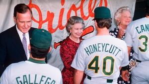 President George Bush, Queen Elizabeth and Barbara Bush shake hands with Mike Gallego, Rick Honeycutt, and Jose Canseco of the Oakland Athletics