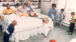 George and Barbara Bush seen with their daughter and grandchildren