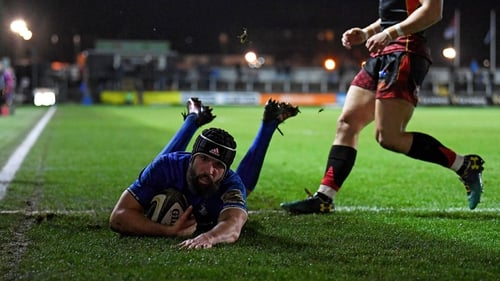 Scott Fardy slides over for Leinster's third try in Rodney Parade