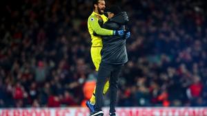 Jurgen Klopp ran onto the pitch to embrace Liverpool keeper Alisson
