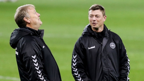 Denmark manager Aage Hareide (L) with assistant manager Jon Dahl Tomasson before last year's World Cup play-off in Dublin