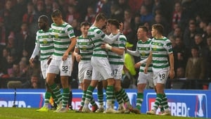 Ryan Christie celebrates his goal with team-mates at Hampden Park