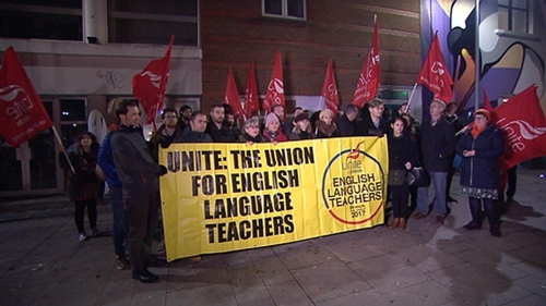 Teachers held a protest outside the private college this evening