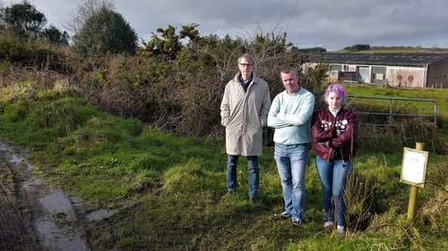 (L-R) Simon Lockwood, Brendan McCarthy and Charli Williams at the proposed site for the plastics factory