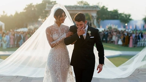 Priyanka Chopra and Nick Jonas on their wedding day, image via Priyanka Chopra/Instagram