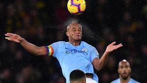 City captain Vincent Kompany rises to head the ball