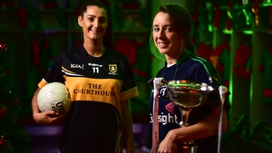 Eimear Meaney (l) of Mourneabbey and Amy Ring, captain of Foxrock-Cabinteely