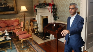 Sadiq Khan arrives for a meeting at Áras an Úachtarain as part of his visit