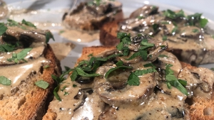 Karen Coakley's Mushroom Bruschetta with Porcini Powder