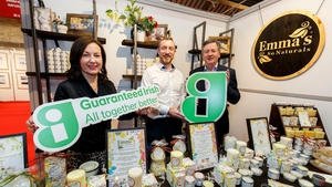 Bríd O'Connell, CEO of Guaranteed Irish, pictured wit one of the businesses attending Gifted at the RDA