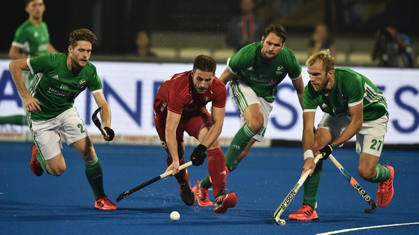 England's Liam Ansell goes on the charge against Ireland in Bhubaneswar