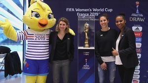 Marinette Pichon of France, Carli Lloyd of USA and Laura Georges of France