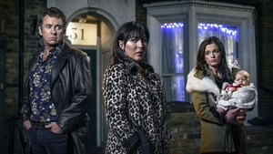 Shane Richie as Alfie with Jessie Wallace (centre) as Kat and Katie Jarvis as Hayley Photo: BBC / Kieron McCarron