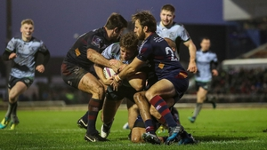 Connacht's Kyle Godwin barges over for a try