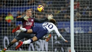 Dele Alli acrobatically heads home the second goal