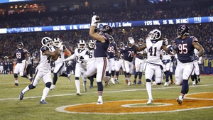Bradley Sowell securing a touchdown for the Chicago Bears