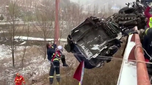 Rescuers had to dismantle the cab to drag the driver from the severely damaged vehicle