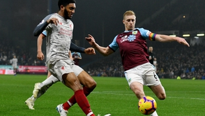 Joe Gomez was injured after a tackle from Ben Mee in December