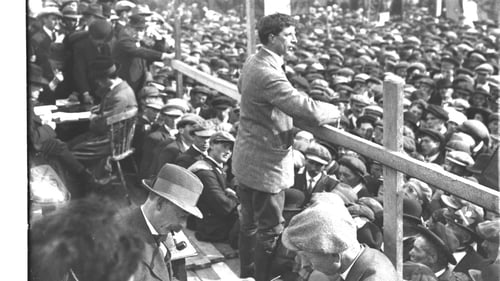 Éamon de Valera addresses an anti-conscription meeting in 1918. The Sinn Féin leader was in prison when elected for two constituencies at the election of December that year.