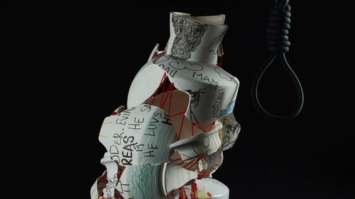 A ceramic work featured in 'BAD-MAN Oh Man' by Shane Keeling