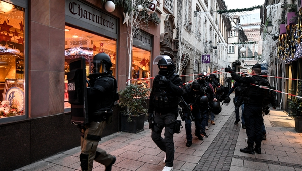 French police search for a suspect following a shooting at a Christmas market in Strasbourg, France in December 2018. Photo: Patrick Seeger/EPA-EFE