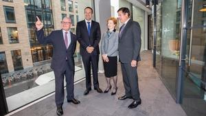 Kevin Wall, CEO of Barclays Bank Ireland, Taoiseach Leo Varadkar, Helen Keelan, Chairperson of Barclays Bank Ireland and Jes Staley, Group CEO of Barclays