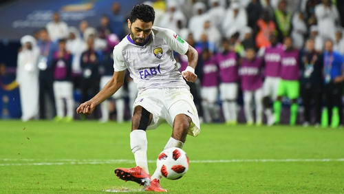 d5f3a7c4e4 Hussein El Shahat of Al Ain scores during the penalty shoot-out