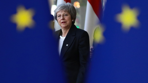 Britain's Prime Minister Theresa May is visiting Brussels for the second time in three days