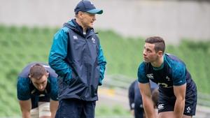 Ireland head coach Joe Schmidt talks to John Cooney during the international window last month