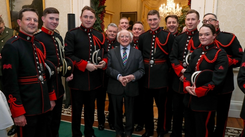 President Michael D Higgins today hosted a reception for members of the Defence Forces at Áras An Uachtaráin