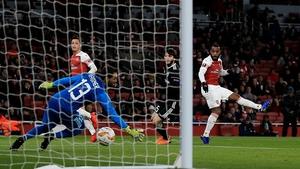 Arsenal striker Alexandre Lacazette rifles the ball past Qarabag goalkeeper Vagner