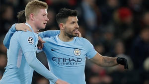 Sergio Aguero (R) and Kevin de Bruyne have spent time on he sidelines this season