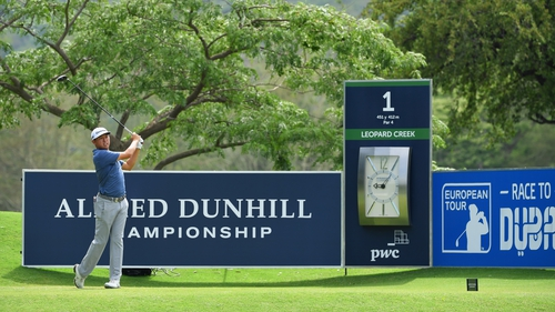 David Lipsky tees off from the opening hole at the South African course