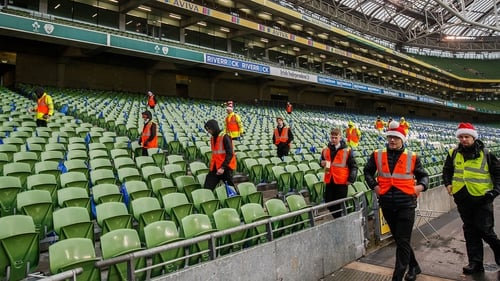 Stewards in action at the stadium