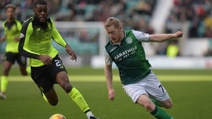 Hibernian's Daryl Horgan rounds Celtic's Olivier Ntcham in the former's 2-0 win at Easter Road